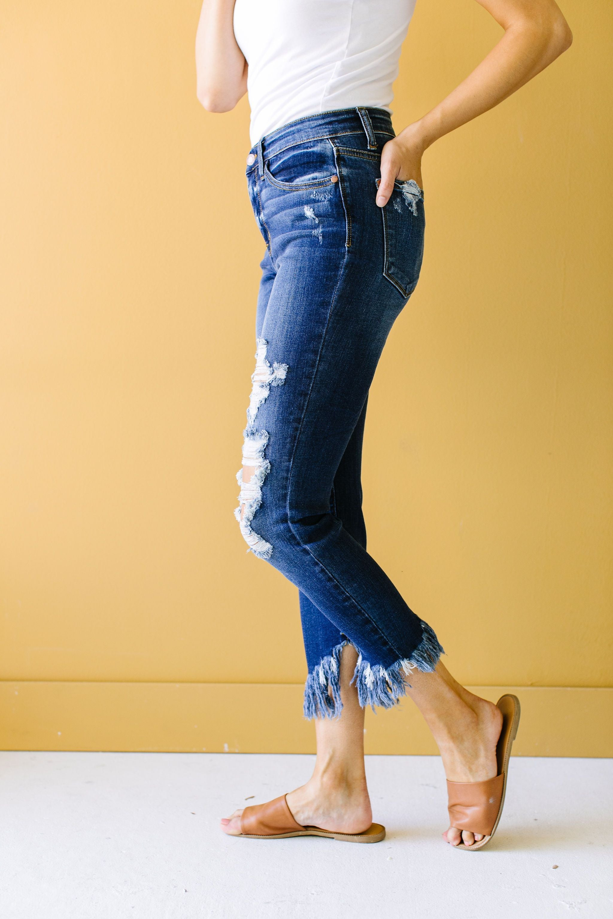 Twin Fringe Cropped Jeans by Judy Blue