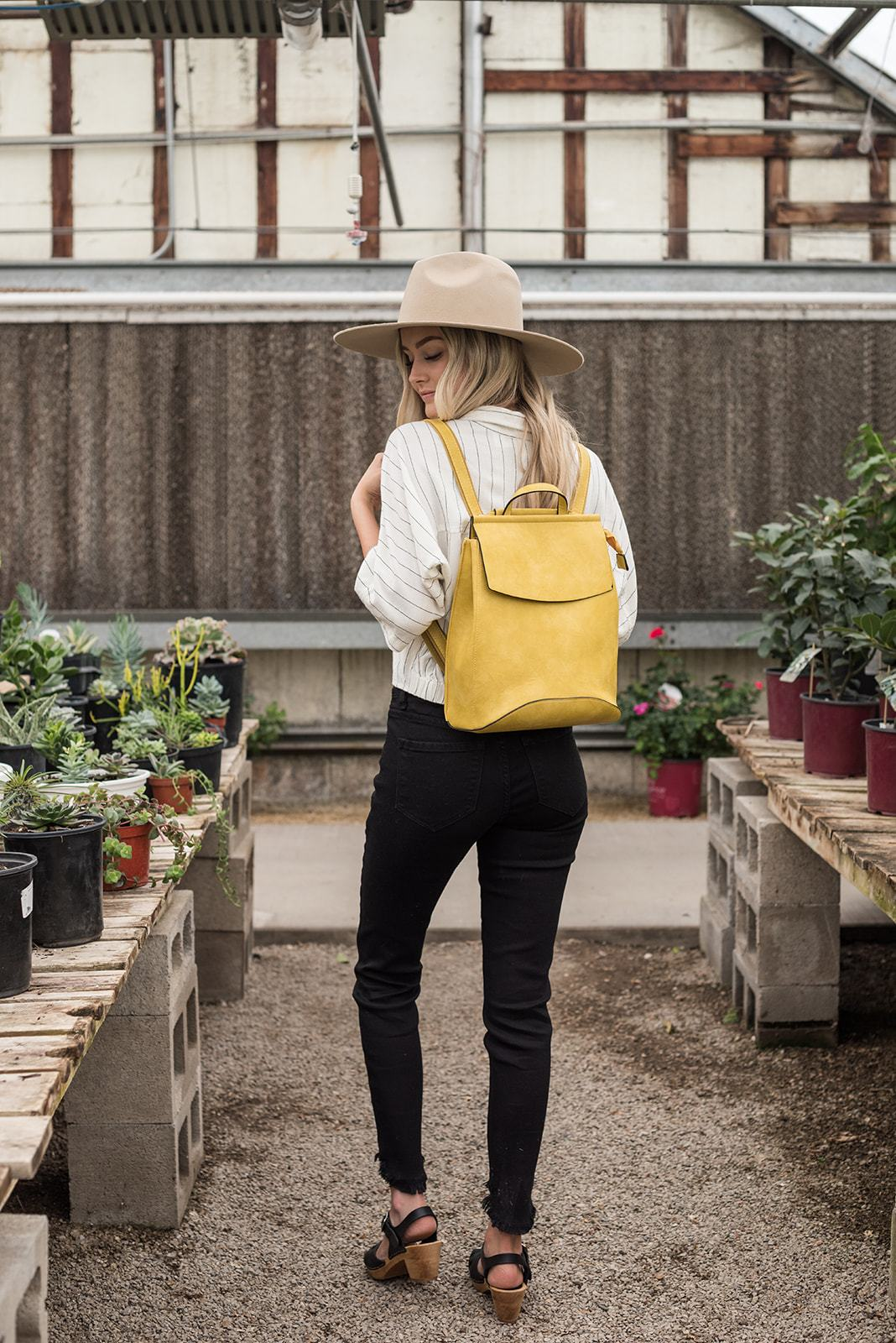 Faux Leather Backpack- Yellow, Accessories - Lola Cerina Boutique