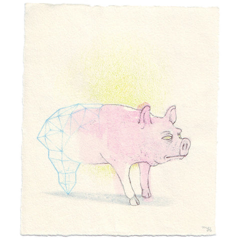 Original Collaborative Drawing by David Birkey and Marie Gardeski - Glass Bottom Boar