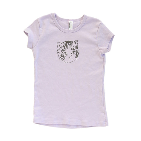 Kids Kitten Tee | Hand Printed Cute Cat for Stylish Girls