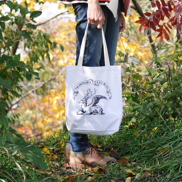 Imaginary Animal Logo Screen-Printed on 100% Recycled Cotton Tote Bags