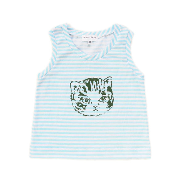Baby Cat Striped Tank | Handmade, One-of-a-Kind, Stylish and Up-Cycled | Size 1T
