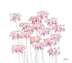 Pinky Bloaters | Puffy Pig Balloons Drawing by Marie Gardeski