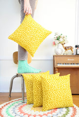 Geometry Pillow | Golden Yellow Shapes | Quality Handmade | Washable