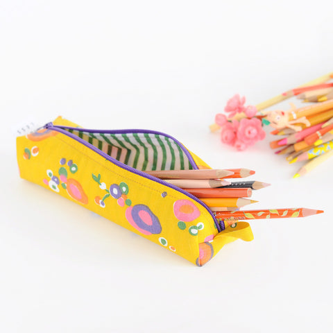 Pencil Bag | Handmade with Vintage Fabric | Yellow