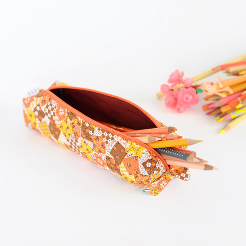 Pencil Bag | Handmade with Vintage Fabric | Patch Pattern