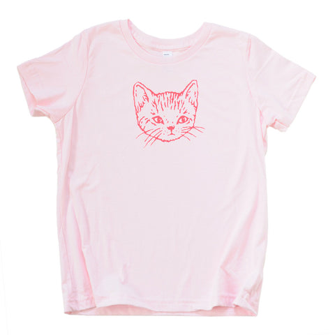 Girls Pink Kitten Tee | Hand Printed Cute Cat for Stylish Kids