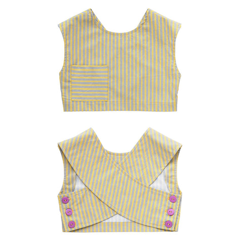 Girls Striped Crossover Cropped Top | Handmade, One-of-a-Kind, Unique and Up-Cycled | Size 5