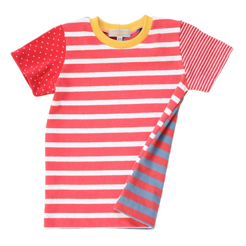 Children's Red/White/Blue Striped Tee | Handmade, One-of-a-Kind, Unique and Up-Cycled
