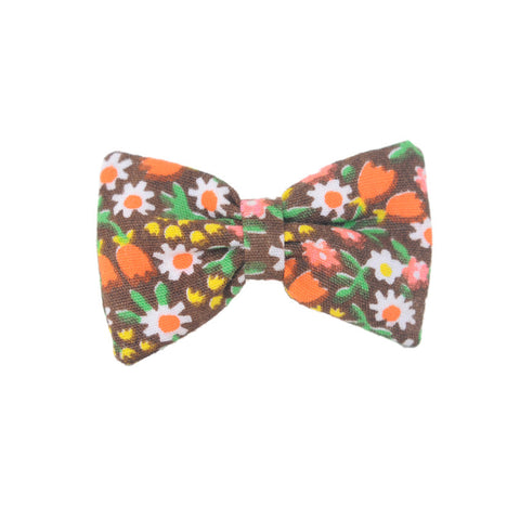 Mini Bow | Vintage Brown Floral | Barrette