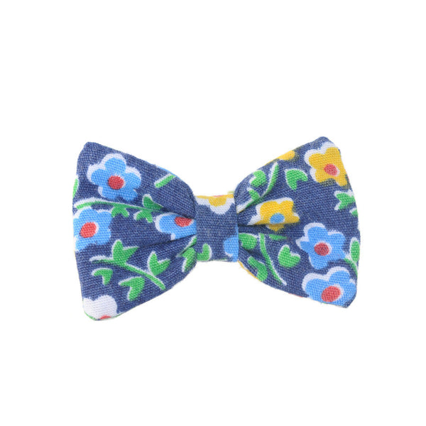 Mini Bow | Vintage Blue Floral | Brooch