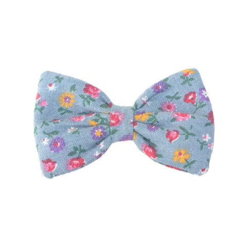 Mini Bow | Vintage Blue-Grey Tiny Floral | Brooch