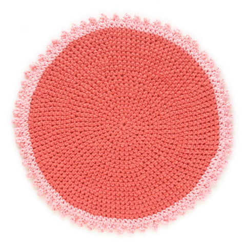 Crocheted Coaster Mat Handmade From Unraveled Cotton Sweaters | Red/Pink
