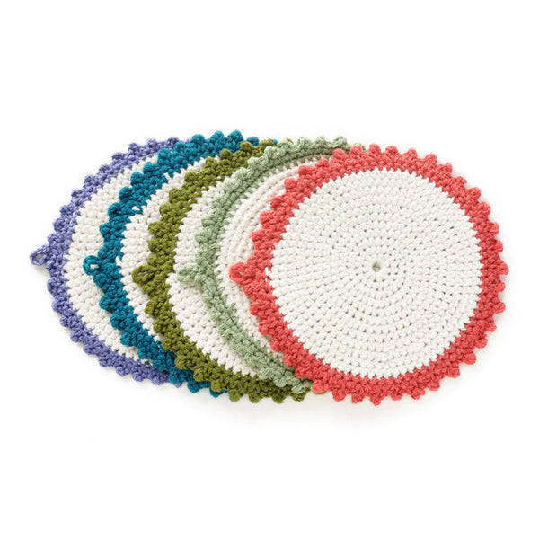 Crocheted Coaster Set Handmade From Unraveled Cotton Sweaters