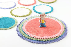 Cotton Crocheted Mat | Red/Pink
