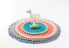 Crocheted Coasters/Trivets Handmade From Unraveled Cotton Sweaters