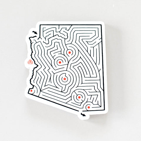 Arizona Maze State Map Sticker | Premium Die Cut Vinyl | 2.75 x 3.25 inches