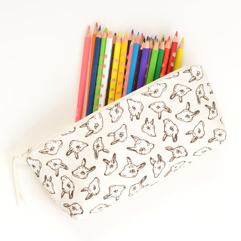Animal Heads Pencil Pouch | Orignal Fabric by Marie Gardeski
