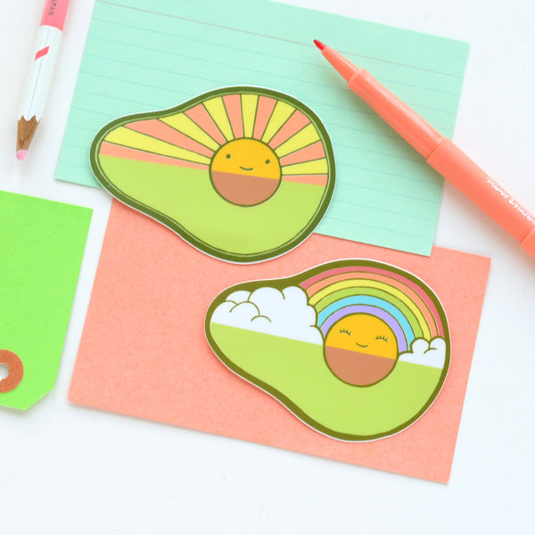 Avocado Rainbow / Avocado Sunrise Stickers | Premium Die Cut Vinyl | 3.25 x 2.5 inches