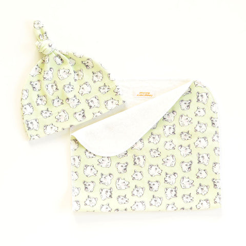 Burping Bears Organic Cotton Baby Hat and/or Burp Cloth