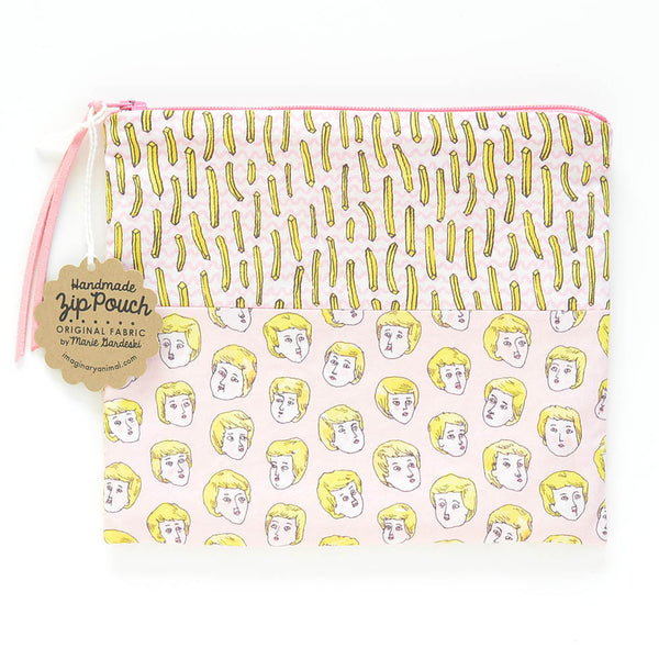 Blond Boys + French Fries Zip Pouch | Pink | Original Fabric Designs