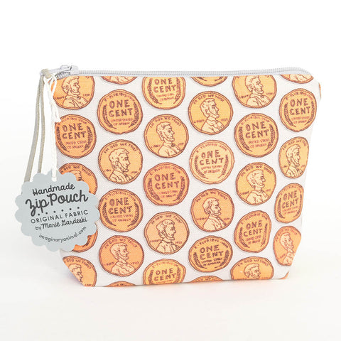 Wheat Back Penny Boxy Zipper Pouch / Coin Purse