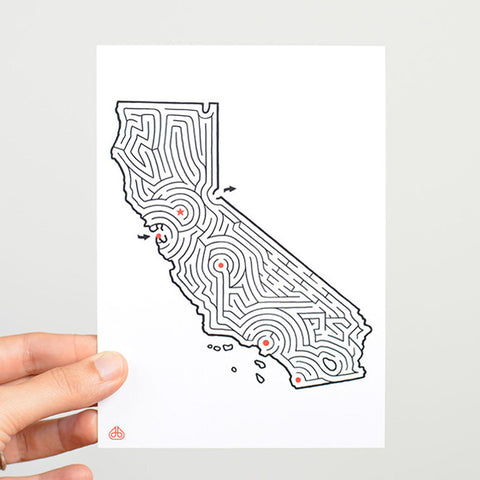 California Map Maze Postcard by David BIrkey / imaginaryanimal.com