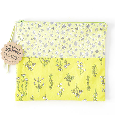 Chartreuse Plants and Stars Patchwork Pouch | Original Fabric by Marie Gardeski