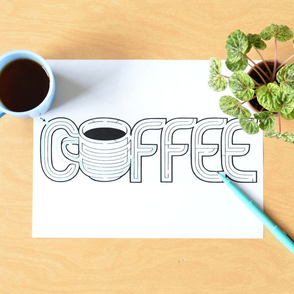 Coffee Word Maze | Hand Designed Instant Download Printable PDF