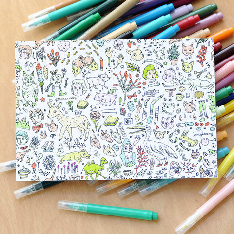 Color & Send Doodletown Postcard | Imaginary Animal