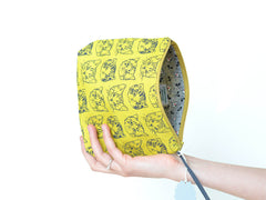 Medium Cute Cats Boxy Pouch in Mustard/Green-Gold | www.imaginaryanimal.com