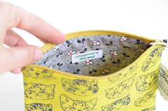 Small Flat Cute Cats Pouch in Mustard/Green-Gold | www.imaginaryanimal.com