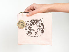 Screen Printed Cat Pouch