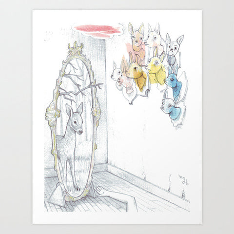 "Fine Art Print of Collaborative Drawing ""Dearer in the Mirror"""