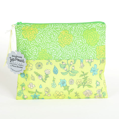 Yellow-Green Floral | Flat Patchwork Pouch