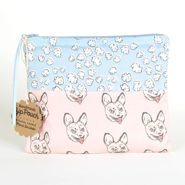 Popcorn Clouds + Crazy Fox | Flat Patchwork Pouch