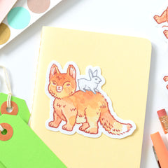 Cute Baby Fox with Bunny Sticker | Premium Die Cut Vinyl | 2.25 x 3 inches
