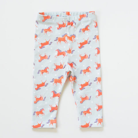 Organic Cotton Frisky Horses Baby Leggings | Newborn
