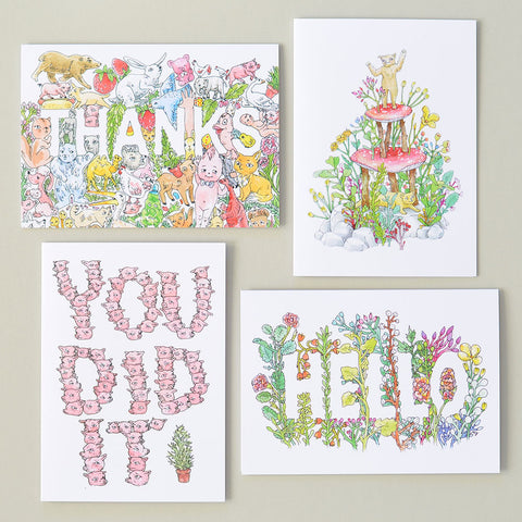 Illustrated Greeting Cards | Set of 4