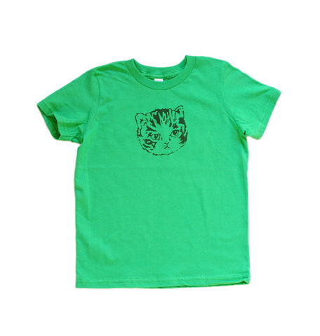 Kids Green Kitten Tee | Hand Printed Cute Cat for Stylish Kids