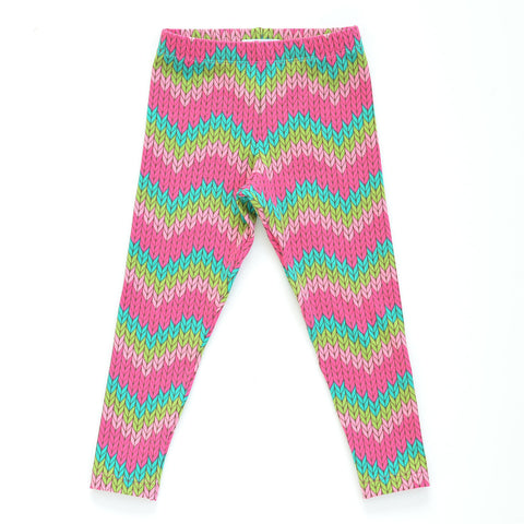 Girls Zigzag Striped Knit Print Leggings