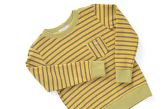 Green-Gold Striped Organic Knit Boxy Sweatshirt Top | Unisex