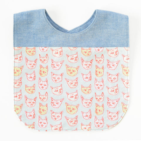 Gritty Kitties Original Fabric Bib | www.imaginaryanimal.com