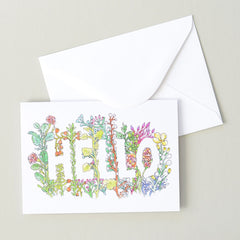 Hello in Flowers Greeting Card | Illustration by Marie Gardeski