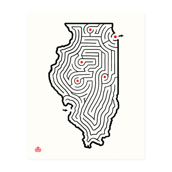 8x10 Illinois Maze Print Designed by David Birkey