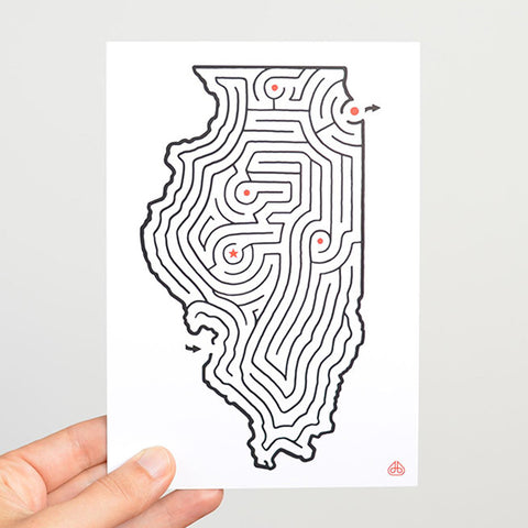 Illinois Maze Postcard designed by David Birkey | imaginaryanimal.com
