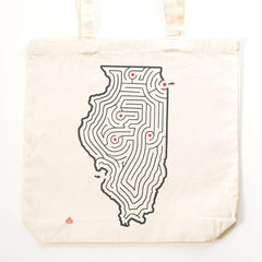 Illinois State Maze Cotton Canvas Tote | Large