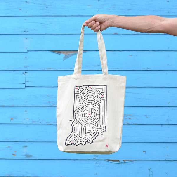 Indiana State Maze Cotton Canvas Tote | Large