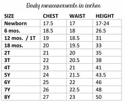 Children's Clothing Size Chart | www.imaginaryanimal.com