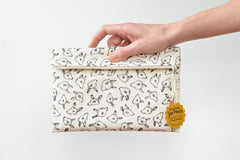 Animal Heads Large Flat Fold-Over Zipper Pouch / Clutch